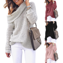 Women Pullover Sweater Off Shoulder Loose Autumn Knitted Sweater Long Sleeve - Center Of Treasures