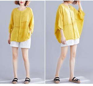 Casual Cotton Short Shirt Women Loose Blouse Plus Size Tops - Center Of Treasures