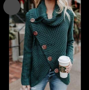 Sweater Pullover Top Long Sleeve Turtleneck Collar Knit Elastic - Center Of Treasures