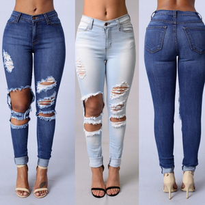 Beach Bum Jeans Skinny Pants Holes Destroyed Knee Pencil Pants Casual Trousers Stretch Ripped - Center Of Treasures