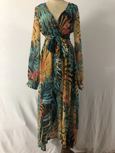 Floral Dress Plus Size Maxi Casual Long Sleeve Boho Tropical Beach Vintage V Neck Belt Lace Up Tunic Dresses - Center Of Treasures
