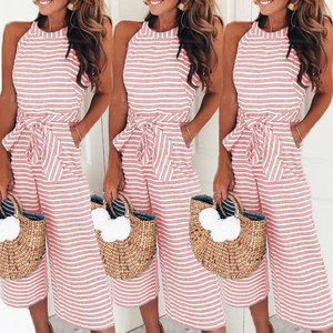 Striped Vacation Casual Jumpsuit Overall Sashes Pockets Long Wide Leg Pants - Center Of Treasures