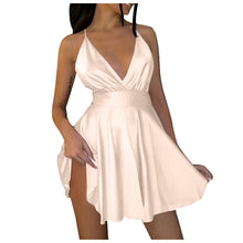 Short Dresses Mini Sleeveless Spaghetti Straps Elegant Satin Backless V-neck Party Night Club Dress