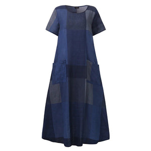 Long Dress Casual Patchwork Plaid Plus Size Dresses Summer Short Sleeve Sundress Bohemian Dresses - Center Of Treasures