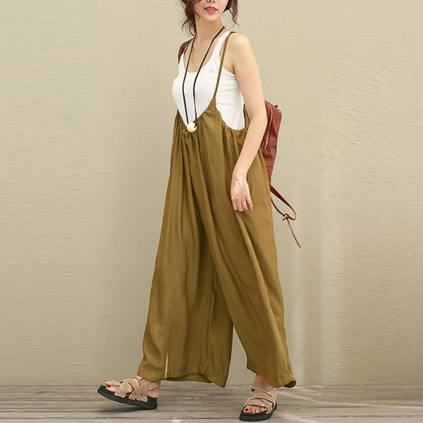 Wide Leg Loose Long Overalls Women Clothes Pants Casual Rompers Jumpsuits Cotton Linen  Plus Size Dungarees - Center Of Treasures