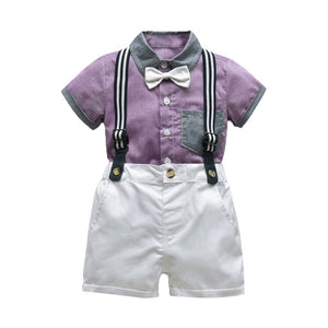 Baby Boy Clothing Sets Infants Newborn Outfits Clothes Shorts Sleeve Tops+overalls 2pcs - Center Of Treasures