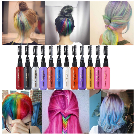 Temporary Hair Color Mascara Disposable Hair Cream Beauty Products Dye Pen Easy Coloring Quick-drying - Center Of Treasures