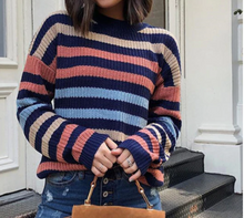 Multicolor Striped Women Sweaters For Fall Oversized Outfits And Pullovers Knitwear Long Sleeve Slim Jumper Pull Femme Winter Ladies Sweater - Center Of Treasures
