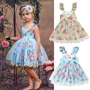 Girl Princess Dress Flower Print Lace Tulle Summer Backless Infant Costume Dresses Party Holiday Kids Children Ball Gown Formal - Center Of Treasures