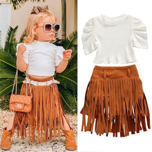 Toddler Baby Girls Infant Clothes Outfits Tops+tassel Skirts Children Kids Puff Sleeve Knitted T-shirts Party