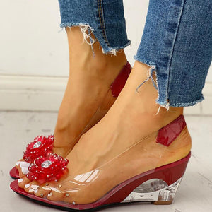Women's Shoes Sandals Casual Slip-On Crystals Flower Wedge Heels Pvc Shoes