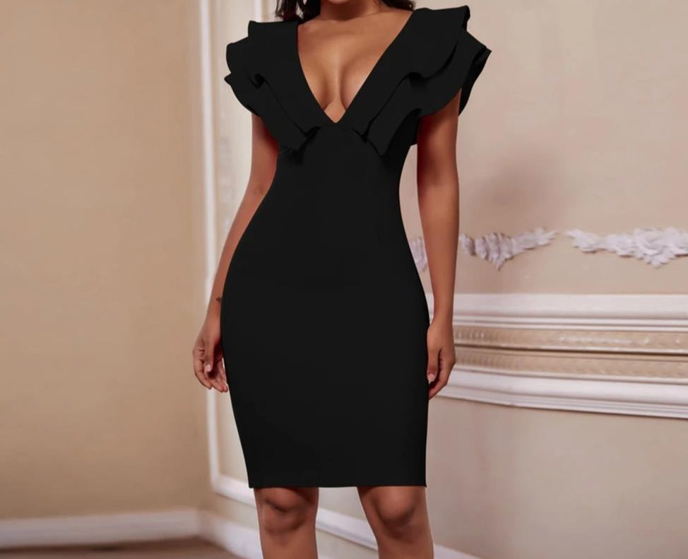 Sexy Bandage Dress Women Deep V Neck Ruffles Elegant Bandage Dresses Bodycon Backless Club Party Dress