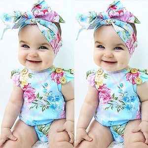 Newborn Baby Girl Blue Floral Romper Clothes 2PCS  Cute Ruffles Baby Bodysuit Romper +Headband Outfits Children Clothes Sunsuit 0-24M - Center Of Treasures