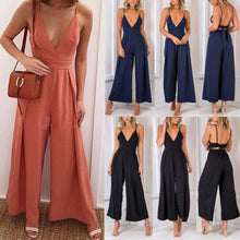 Women Strap Backless Long Jumpsuits Solid Back Bow Flare Leg Playsuit 2018 Summer Beach Loose Jumpsuit - Center Of Treasures