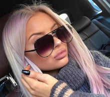 Women's Sunglasses 2019 Fashion Brand Designer Mirror Shades Pilot Female Fashion Flat Top Glasses for Your Face Shape Vintage Trend Aviators 2018 Oversized Round Top 10 Gradient - Center Of Treasures