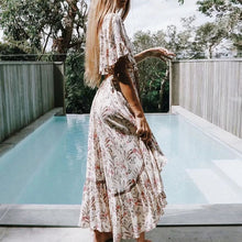 Maxi Dress Chic Deep V-neck Bohemian Floral Print Hollow Out Summer Casual Boho Indian Outfit Pattern Vintage Tassel - Center Of Treasures