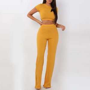 2 Two Piece Set Women Crop Top And Long Pants Set Ribbed O Neck Short Sleeve Tracksuit