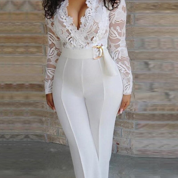 Women Sexy Elegant Overalls Rompers Patchwork Jumpsuit Long Sleeve Lace Trousers Party Playsuit