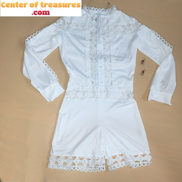 Lace Playsuits Rompers Outfit Patchwork Long Sleeve Hollow Out Women