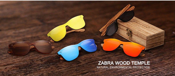 Mens Sunglasses Polarized Walnut Wood Mirror Lens Sun Glasses Women Brand Design Colorful Shades Handmade - Center Of Treasures