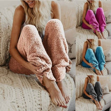 Womens Warm Plush Cozy Pajama Pants Casual Winter Warm Loose Sweat Elastic Soft - Center Of Treasures