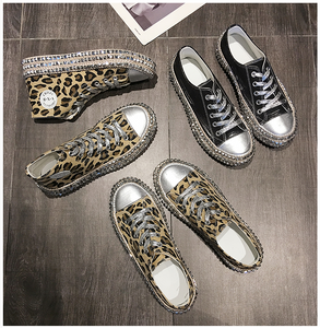 Leopard Rivet Embellished Lace-up Sneakers Canvas Shoes Fashion Flats Shallow/high Top Sneakers - Center Of Treasures