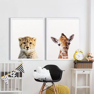 Lion Zebra Elephant Giraffe Baby Animals Art Print Poster, Safari Animals Picture Canvas Painting Kids Room Nursery Wall Decor - Center Of Treasures