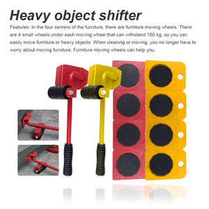 Furniture Transport Roller Tool Set Removal Lifting Moving Handling Heavy Move House Accessories Blue 5Pcs - Center Of Treasures