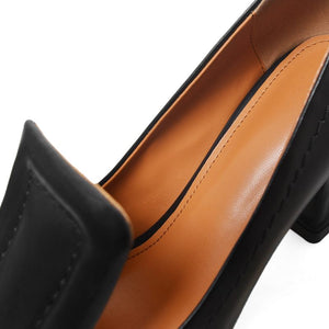 Chunky Heel Genuine Leather Square Toe Shoes Women Autumn High Heels 5cm Shoe Fashion Shallow Pumps Office Lady Platform Daily Work Dress Footwear - Center Of Treasures
