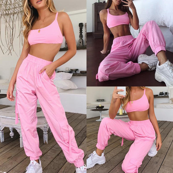 Two Piece Set Floss Pants And Crop Tops Neon Tracksuit for Women Fitness Sweatsuit Casual Pink Bandage High Waist Long Pants Sexy Clothes - Center Of Treasures