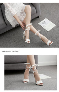 Sandals Women's sandals Fish-mouth Lace-crossed High-heeled Shoes PLUS SIZE 43  11.5cm heels - Center Of Treasures