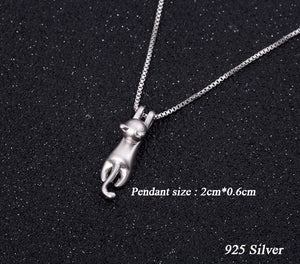 Hanging Cat Necklace 925 Sterling Silver Korean Fashion Simple Animal Jewelry Cute Kitty Clavicle Cat Chain Pendant - Center Of Treasures