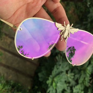 Luxury Metal Big Bee Pilot Sunglasses Gradient Lenses UV400 Retro Men Women Shades 47850 - Center Of Treasures