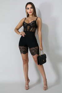 Sexy Lace Hollow Out Lingerie Underwear & Sleepwear Summer Women Playsuits Spaghetti Strap Bodysuit Short Jumpsuit Casual Sleeveless Bodycon Romper - Center Of Treasures