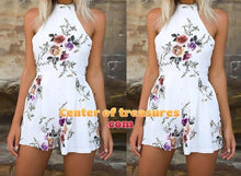 High Neck Bodysuit Floral Print Mini Playsuit Shorts Jumpsuit Overalls - Center Of Treasures