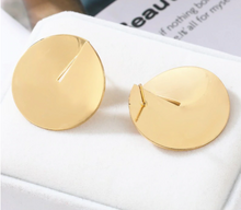 Stud Earrings Simple Unique Boho Gold Silver Sia Earrings Fashion Glossy Metal Round For Women Gold/Silver Earrings Punk Jewelry Party Club For Ladies Gifts - Center Of Treasures