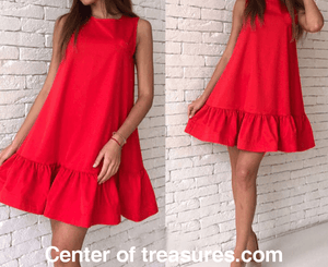 Mini Dresses Casual Chiffon Dress Ruffle Sleeveless Beach Party Sundress - Center Of Treasures
