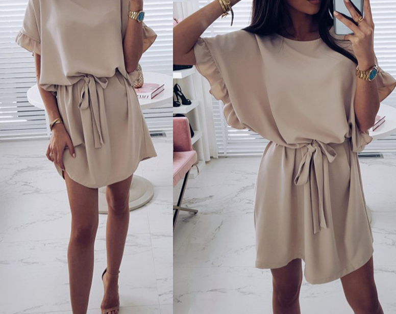 Dress Short Batwing Sleeve  Sashes Mini Dresses With Belt O-neck Dress Fashion - Center Of Treasures