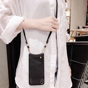 Smartphone Cross Body Case Bag Purse Wallet Credit Card Leather Phone Case Wallet Strap Long Chain - Center Of Treasures