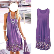 Sleeveless Plus Size Dress Floral Print Loose Casual Beach Summer Dress Fashion Six Colors Dress - Center Of Treasures