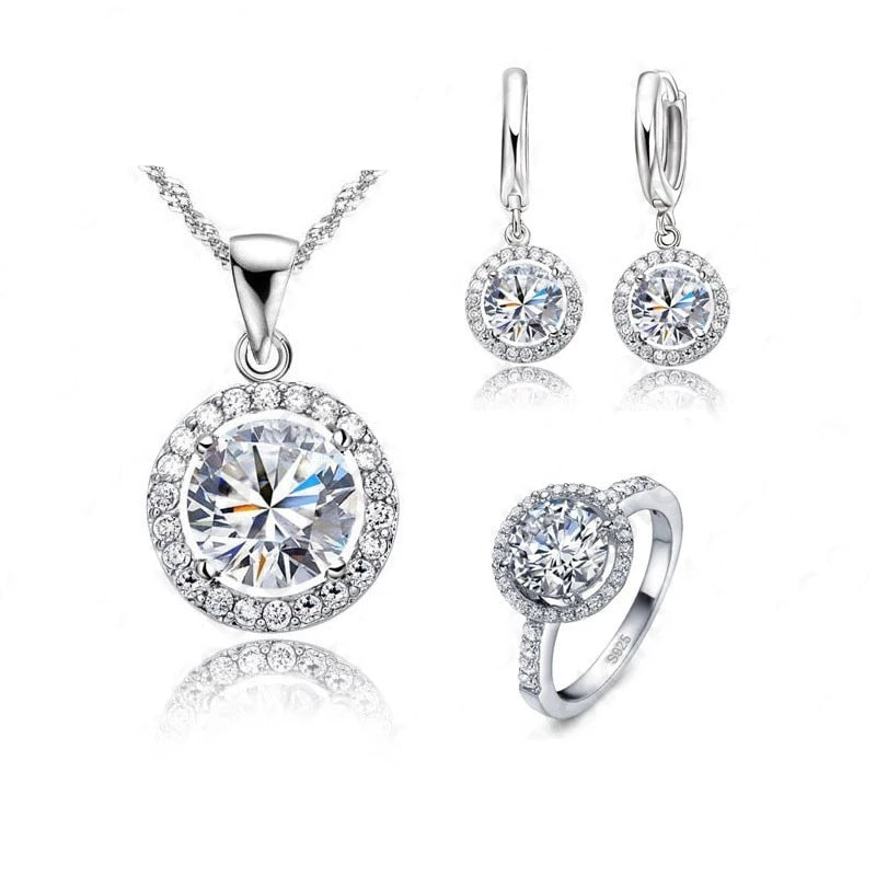 Luxury Women Wedding Necklace Earrings Ring Bridal Jewelry Set 925 Sterling Silver AAA Zircon Crystal Anniversary Gift - Center Of Treasures