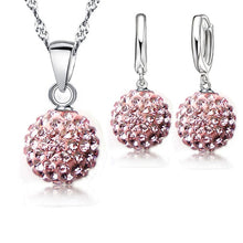 Shiny Latest Jewelry Set 925 Sterling Silver Austrian Crystal Pave Disco Ball Lever Back Earring Pendant Necklace Women - Center Of Treasures