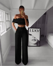 Two-pieces Set Fashion Suits Short Top + Loose Pants Sets Hot Summer Woman Solid Color Ladies Work for Woman Casual - Center Of Treasures