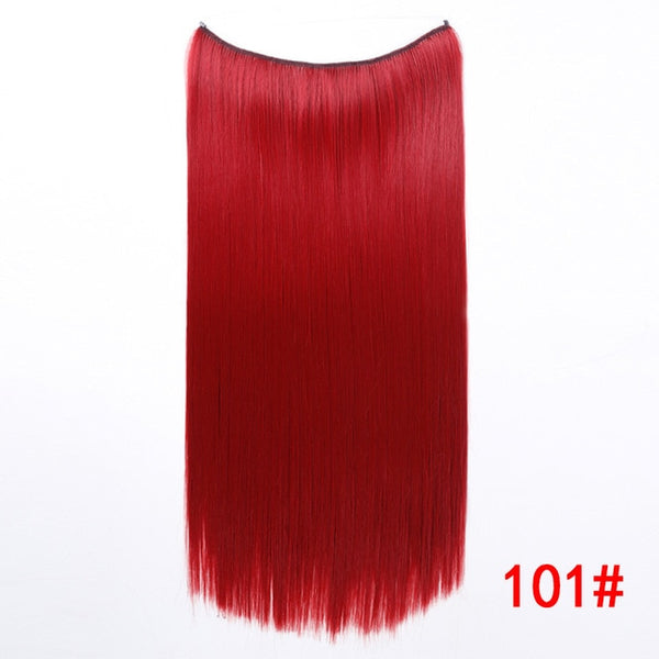 "Hair Extensions 24"" Invisible Wire No Clips In Secret Fish Line Hairpieces Synthetic Straight Wavy Hair Extensions - Center Of Treasures"
