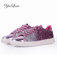 Womens Shiny Glitter Sparkling Sneakers Shoes Casual Lace Up - Center Of Treasures