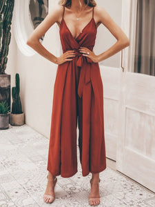 Sexy floral print jumpsuits women V neck split spaghetti strap long overalls  Summer beach loose female  jumpsuit 2019 - Center Of Treasures