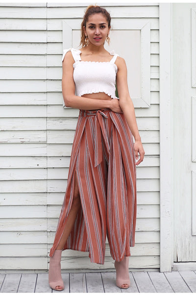 Split striped lady wide leg pants women Summer beach high waist trousers Chic streetwear sash casual pants capris female - Center Of Treasures