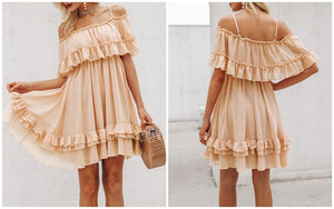 Off Shoulder Strap Chiffon Dress Ruffle Pleated Mini Short Dress Pink Elegant Loose Summer Beach Dress - Center Of Treasures