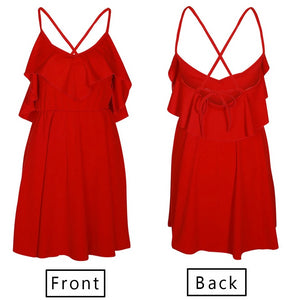 Backless Cross Drawstring Ruffles Dress Bundle Waist V-neck Strap Mini Dress Vintage - Center Of Treasures
