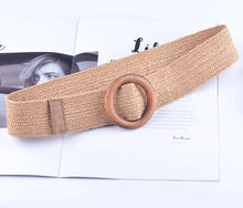 Wooden Button Belt For Women Elastic Straw Belt Decoration for Dress Belt Casual Female Belt Accessories - Center Of Treasures